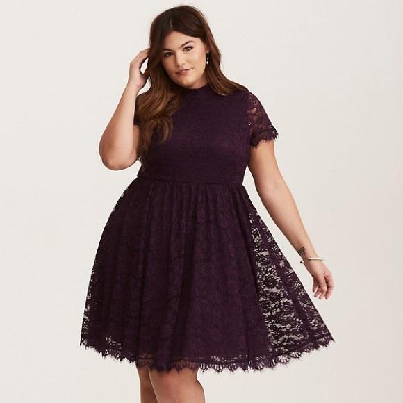 21ad47e6dd7 Deep purple high neck skater dress